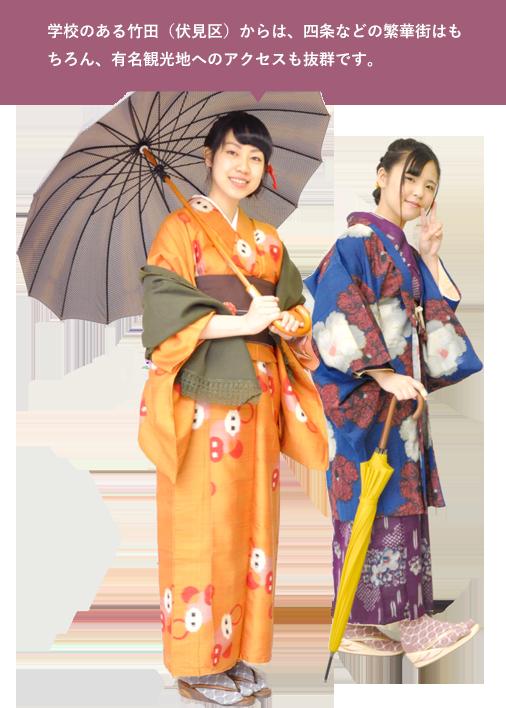 学校のある竹田(伏見区)からは、四条などの繁華街はもちろん、有名観光地へのアクセスも抜群です。